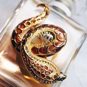 Joan Rivers Enamel Cobra Gold Plated Brooch